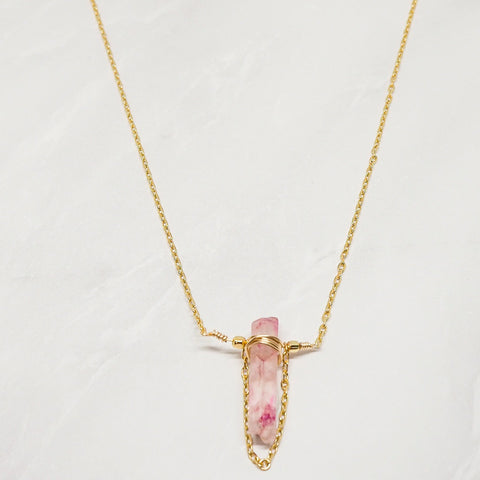 """Pink Crystal Chain"" ネックレス"
