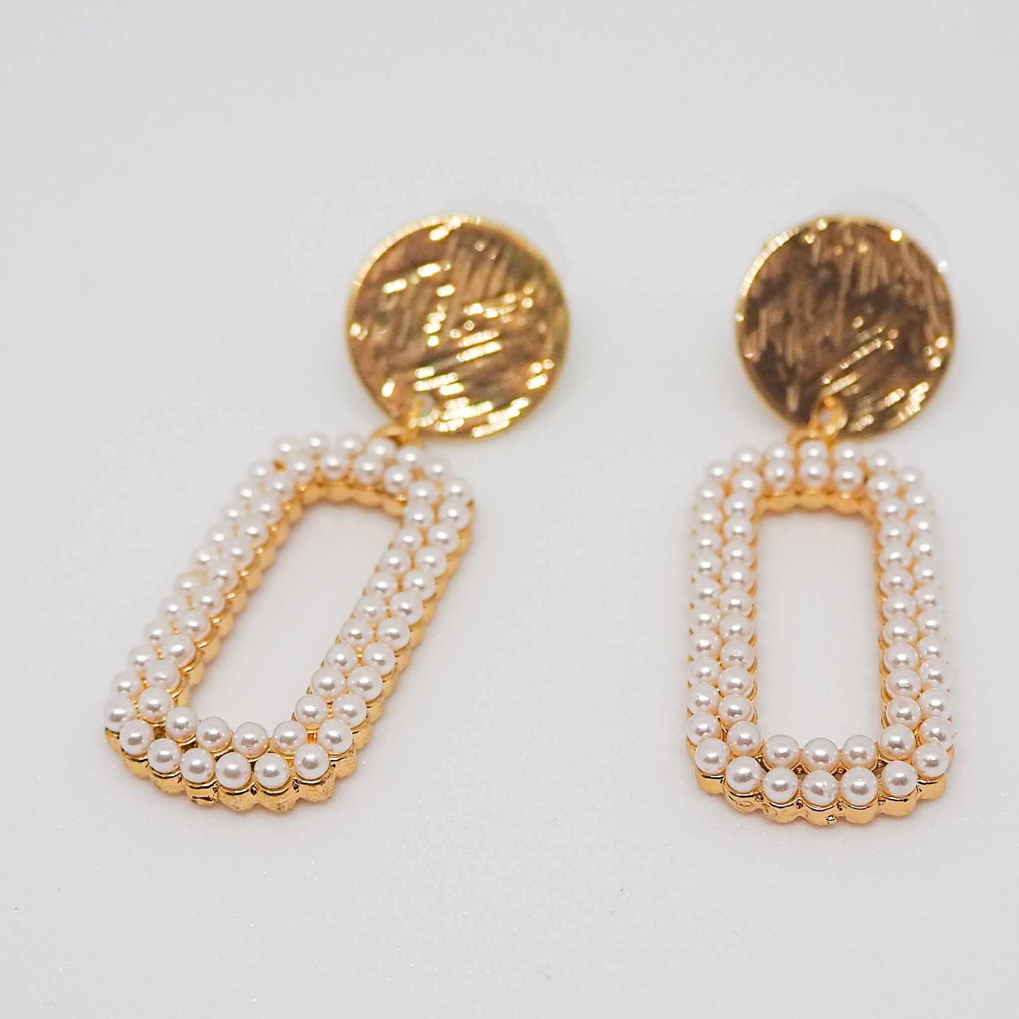 """Rectangle pearl"" ピアス"