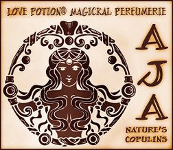 Love Potion AJA label featuring African Goddess illustration on parchment background.