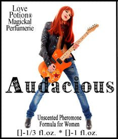 Love Potion product label featuring  long haired young woman posing with an electric guitar.