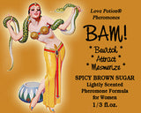 Love Potion: BAM pheromone label featuring pinup of woman dancing with a snake.