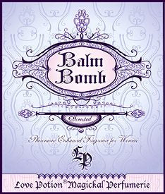 Love Potion: Balm Bomb perfume label, featuring fancy text on a lavender background.