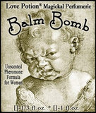 "Love Potion Balm Bomb pheromone label featuring amusing illustration of a crabby baby. Artwork by Albrecht Durer, 1521 ~ ""The Weeping Cherub"""