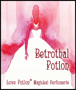 Love Potion Betrothal label featuring elegant watercolor painting of a bride.