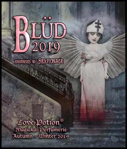 Love Potion BLUD 2019 label featuring ghostly angel of mercy in a decrepid stairway.