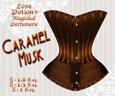 Love Potion Caramel Musk label featuring illustration of antique corset.