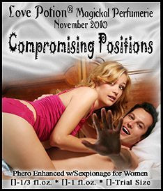 Love Potion Compromising Positions label featuring couple caught in the act!