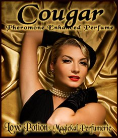 Love Potion Cougar label featuring sexy woman on gold silk background.
