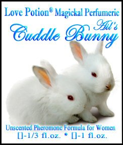 Love Potion Cuddle Bunny Pheromone label featuring 2 baby bunnies cuddling.
