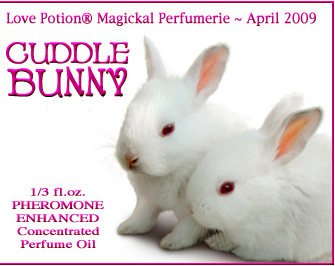 Love Potion perfume label featuring 2 baby bunnies cuddling.
