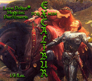 Love Potion perfume label featuring classical artwork of a beautiful damsel kissing a knight in armor.