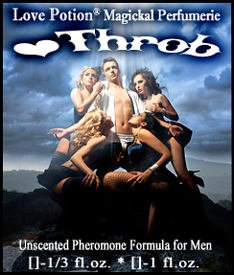 Love Potion Pheromone label of product Heart Throb, featuring man surrounded by beautiful women ripping off his shirt.