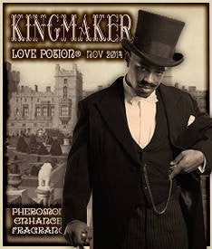 Love Potion label for Kingmaker, featuring elegantly dressed man in a top hat with a castle background.