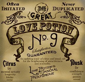 Love Potion #9 perfume label, featuring fancy text on aged parchment background, crafted to look like an antique potion label.