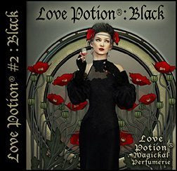 Love Potion: Black perfume label featuring art nouveau style artwork of lovely woman in black surrounded by red poppy flowers.