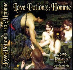 Love Potion: Homme label featuring classical artwork of a man leaning over the water surrounded by adoring naiads.