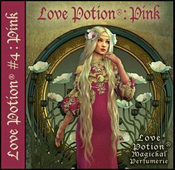 Love Potion: Pink perfume label featuring art nouveau style artwork of lovely woman in pink surrounded by white flowers.