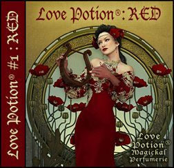 Love Potion: Red perfume label featuring art nouveau style artwork of lovely woman in red surrounded by red poppy flowers.