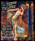 Love Potion Pheromone label for La Femme Mystere, featuring painting of beautiful woman performing the Dance of the Seven Veils.