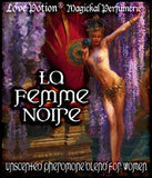 Love Potion Pheromone label for La Femme Noire, featuring painting of beautiful woman performing the Dance of the Seven Veils.