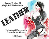Love Potion Pheromone label for Leather, featuring watercolor painting of attractive brunette woman.