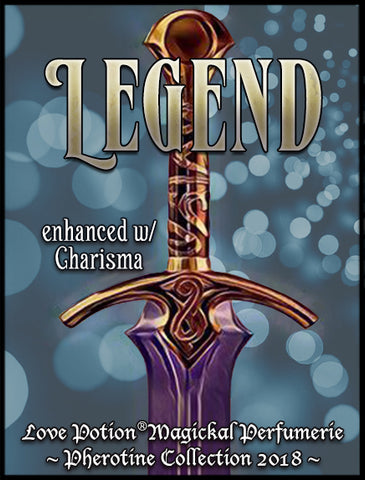 Love Potion label for Legend, featuring an Excalibur style sword.