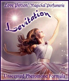 Love Potion Pheromone label for Levitation, featuring beautiful woman joyously dancing.