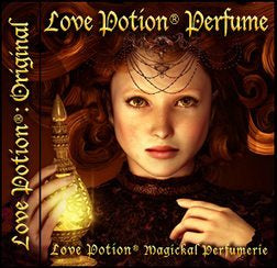 Love Potion Perfume: Original label featuring young red haired woman holding a glowing potion bottle.