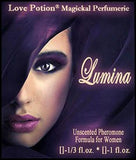 Love Potion: Lumina pheromone label featuring face of beautiful woman who appears to be glowing from within purple fabric.
