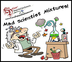 Love Potion Mad Science pheromone label featuring cartoon of cackling mad scientist in a lab with chemistry bottles.
