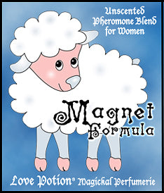 Love Potion Magnet Formula pheromone label featuring fluffy cute lamb cartoon.