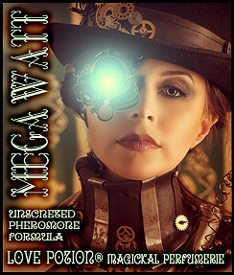 Love Potion Pheromone label for Mega Watt, featuring steampunk image of a woman with a lighted electric eye.