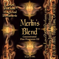 Love Potion: Merlin's Blend label featuring text on background suggesting the faces of woodland gods.
