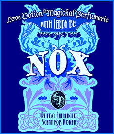 Love Potion Nox label featuring fancy text on deep blue background.