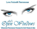 Love Potion Pheromone label for Open Windows, featuring closeup of beautiful eyes.