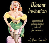 Love Potion: Blatant Invitation pheromone label featuring sexy pinup flirtaciously lifting her skirt.
