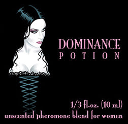 Love Potion Pheromone label featuring sexy woman in a black corset illustration.