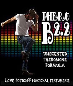Love Potion Pheromone label for Phero B2.2 featuring male dancer on a rainbow background.