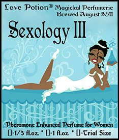 Love Potion: Sexology perfume label, featuring sexy female smiling on a bed with a potion bottle in hand.