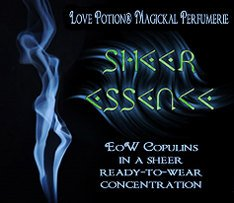 Love Potion:Sheer Essence  pheromone label, featuring the figure of a woman, made out of smoke.
