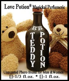 Love Potion: Teddy Potion BB pheromone label featuring 2 teddy bears around a potion bottle.