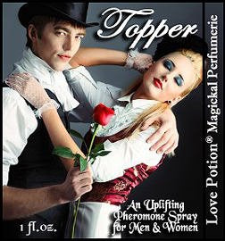Love Potion: Topper pheromone label featuring attractive sexy couple in top hats.