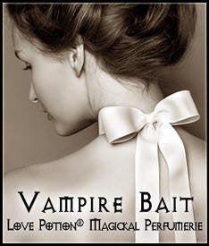 Love Potion: Vampire Bait label featuring an over the shoulder image of a lovely young woman with a bow around her neck.