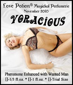 Love Potion: Voracious label featuring sexually ecstatic looking woman in leopard underwear reclining on white sheets.