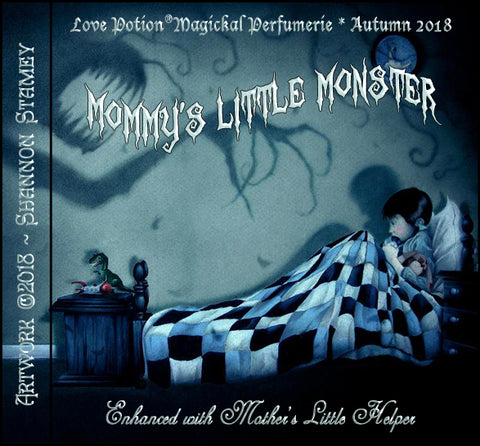 Love Potion: Mommy's Little Monster label, featuring painting of child being frightened by a shadow monster, by artist Shannon Stamey.