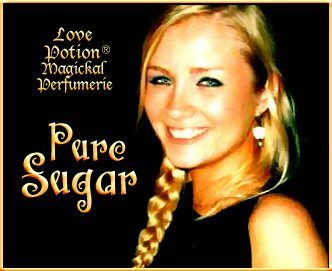 Love Potion: Pure Sugar label featuring the face of a lovely woman.