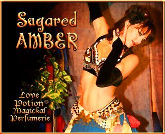 Love Potion: Sugared Amber label featuring a lovely female dancer.