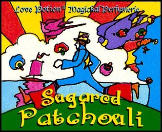 Love Potion: Sugared Pathcouli label featuring colorful psychedelic artwork of a striding man, by Peter Max.