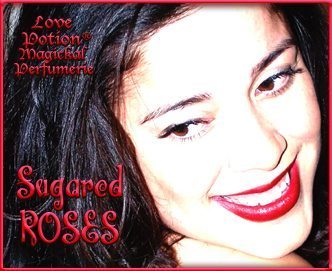Love Potion: Sugared Roses label featuring the smiling face of a lovely woman.