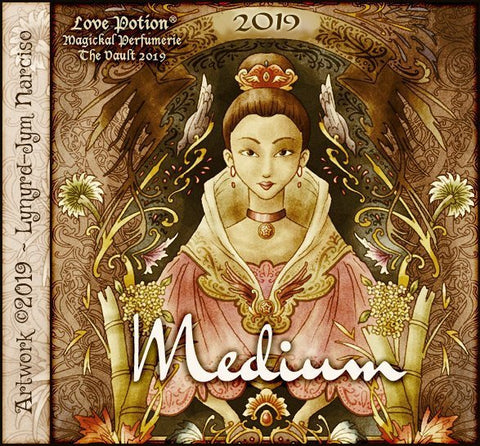 Love Potion: Medium perfume label featuring fortune teller illustration by artist Lynryd-Jym Narciso.